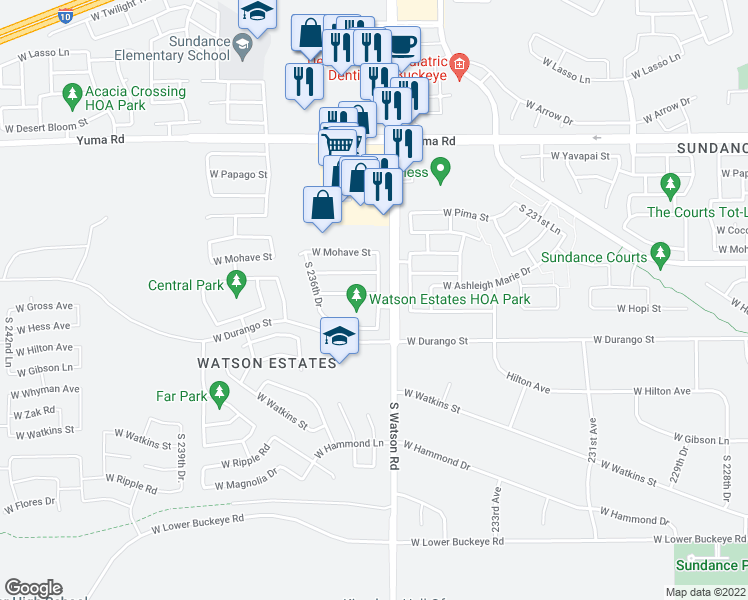map of restaurants, bars, coffee shops, grocery stores, and more near 23541 West Hopi Street in Buckeye