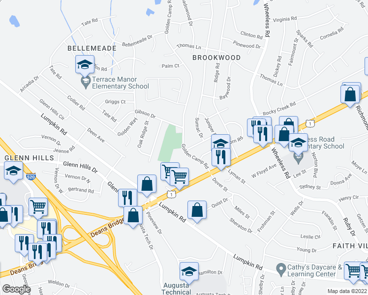 map of restaurants, bars, coffee shops, grocery stores, and more near 3055 Hawthorne Drive in Augusta