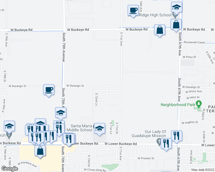 map of restaurants, bars, coffee shops, grocery stores, and more near 7222-7234 West Durango Street in Phoenix
