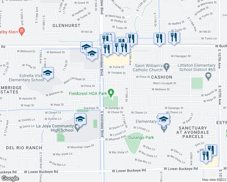 map of restaurants, bars, coffee shops, grocery stores, and more near 11405 West Mohave Street in Avondale