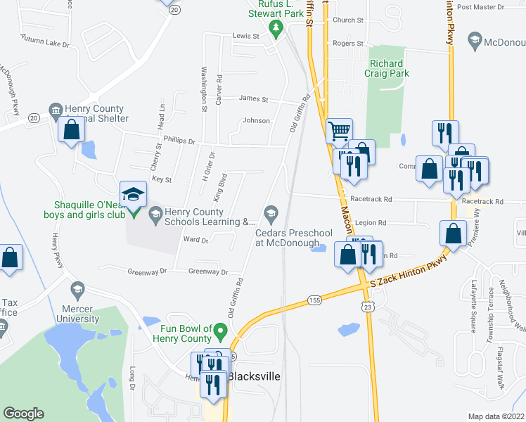 map of restaurants, bars, coffee shops, grocery stores, and more near 225 Old Griffin Road in McDonough