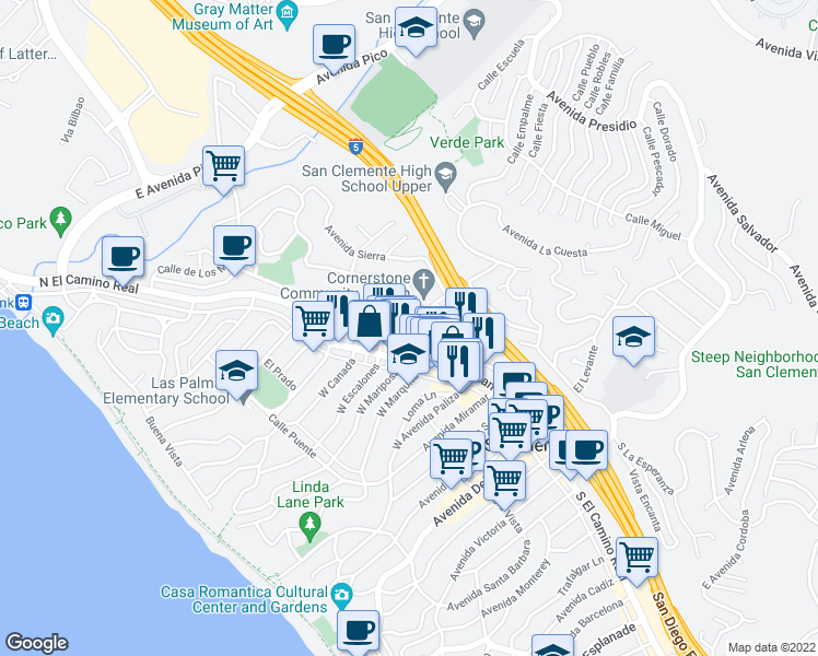 map of restaurants, bars, coffee shops, grocery stores, and more near 118 East Escalones in San Clemente