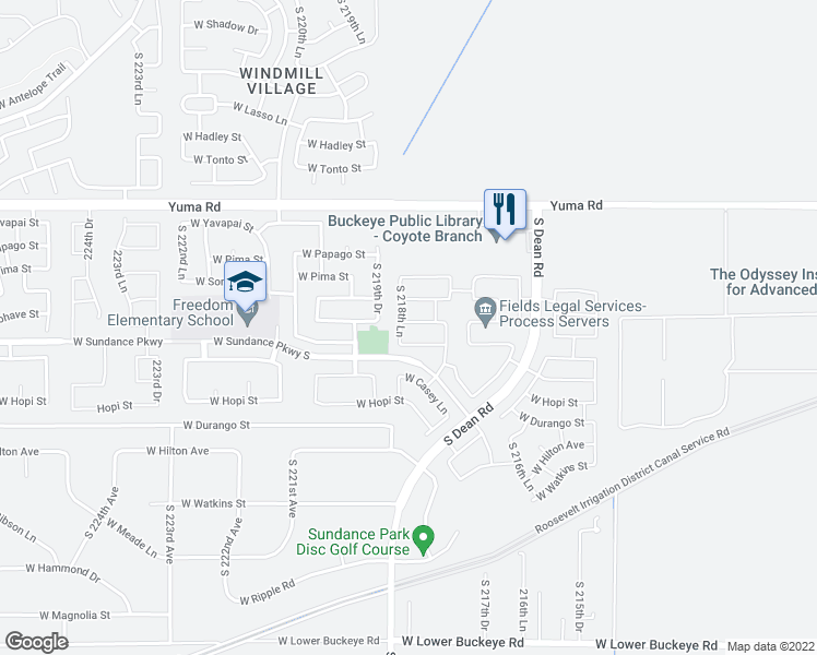 map of restaurants, bars, coffee shops, grocery stores, and more near 21875 West Cocopah Street in Buckeye