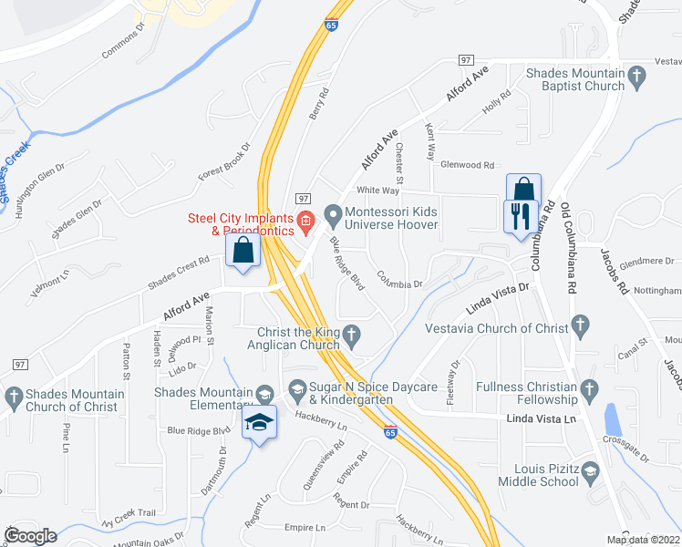 map of restaurants, bars, coffee shops, grocery stores, and more near 2126 Blue Ridge Blvd in Hoover