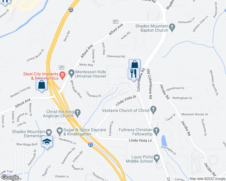 map of restaurants, bars, coffee shops, grocery stores, and more near 752-776 Woodmere Creek Drive in Birmingham