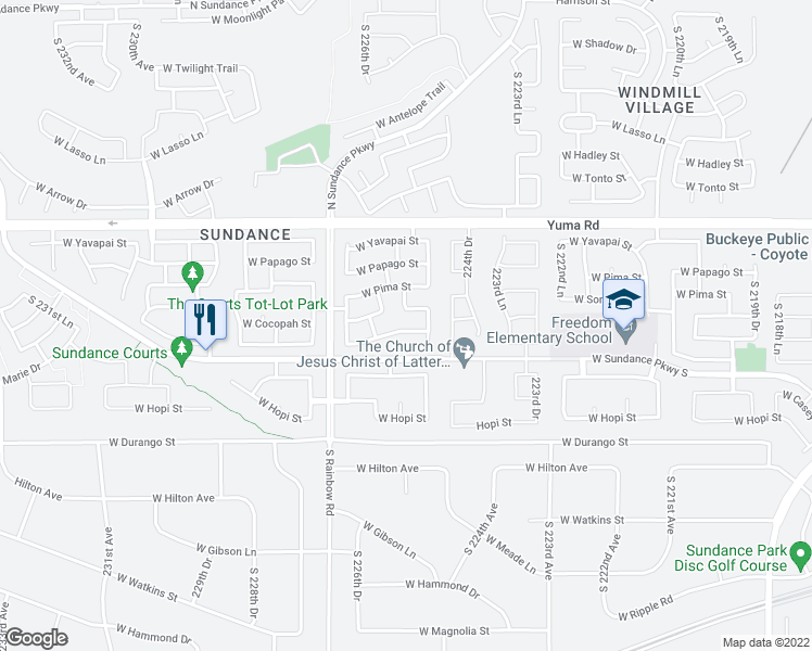 map of restaurants, bars, coffee shops, grocery stores, and more near 22550 West Mohave Street in Buckeye