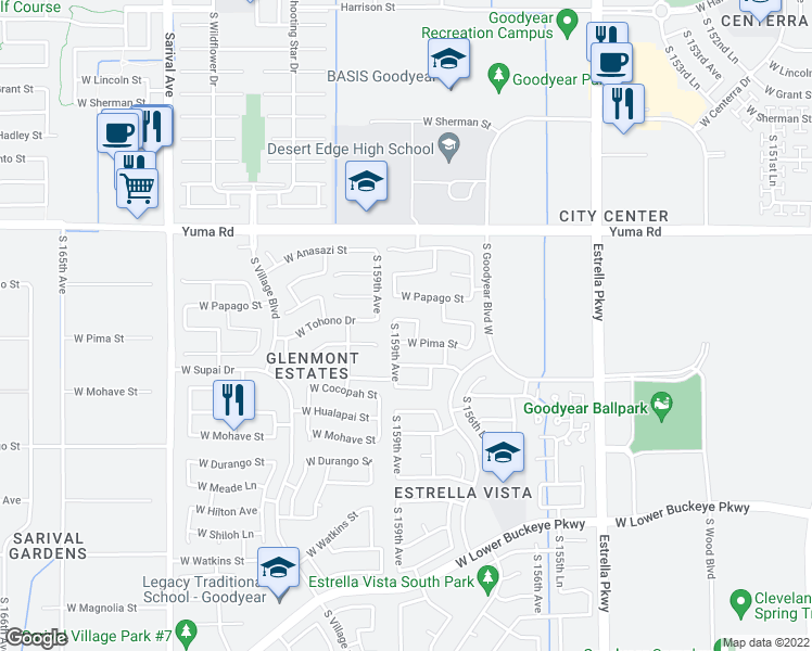 map of restaurants, bars, coffee shops, grocery stores, and more near 15873 West Tohono Drive in Goodyear