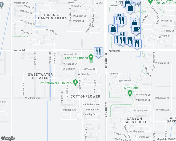 map of restaurants, bars, coffee shops, grocery stores, and more near 17241 West Elaine Drive in Goodyear