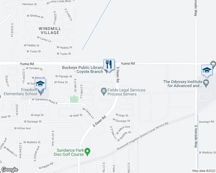 map of restaurants, bars, coffee shops, grocery stores, and more near 21738 West Pima Street in Buckeye