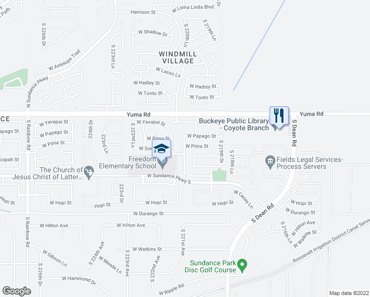map of restaurants, bars, coffee shops, grocery stores, and more near 22077 West Pima Street in Buckeye
