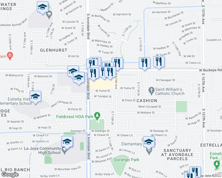 map of restaurants, bars, coffee shops, grocery stores, and more near 11358 Yuma Street in Avondale
