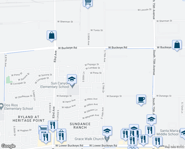 map of restaurants, bars, coffee shops, grocery stores, and more near 7942 West Pima Street in Phoenix