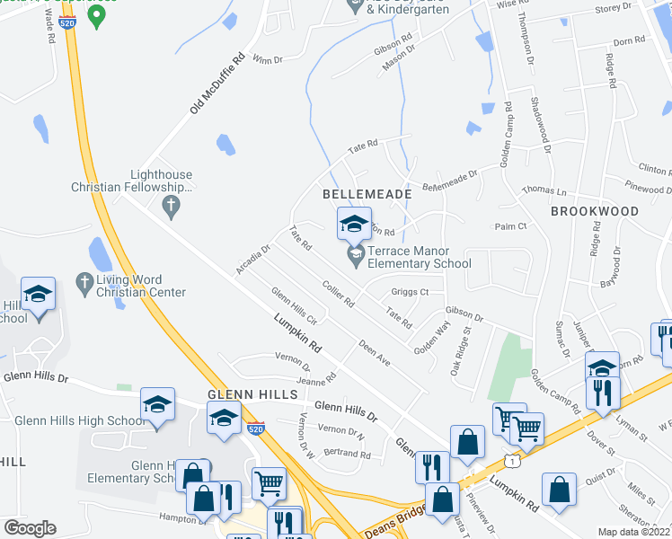 map of restaurants, bars, coffee shops, grocery stores, and more near 3122 Tate Road in Augusta