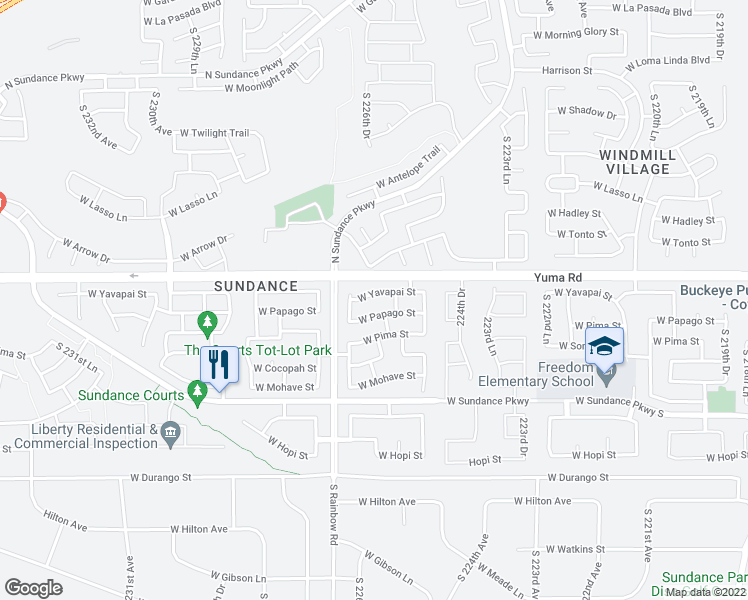map of restaurants, bars, coffee shops, grocery stores, and more near 22621-22627 West Yavapai Street in Buckeye
