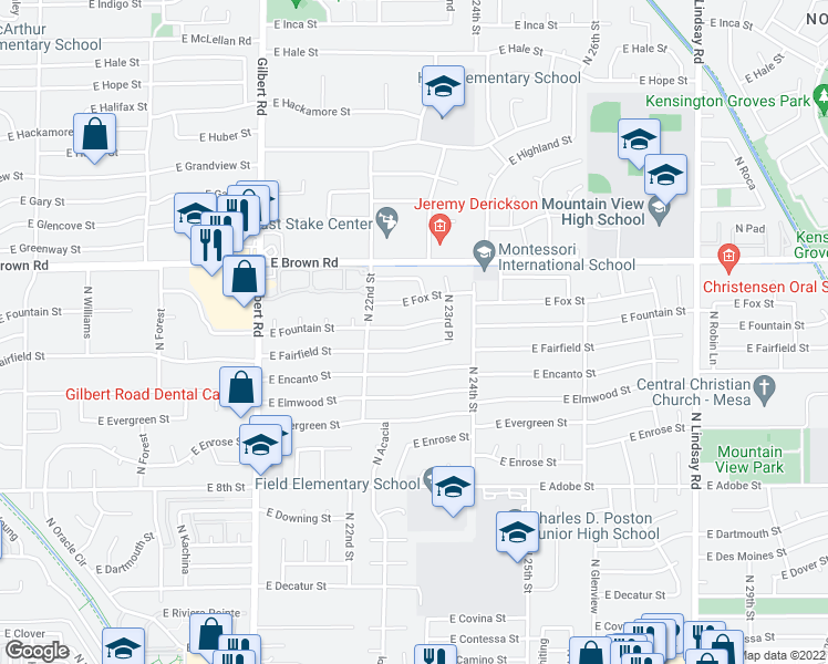 map of restaurants, bars, coffee shops, grocery stores, and more near 2255 East Fountain Street in Mesa