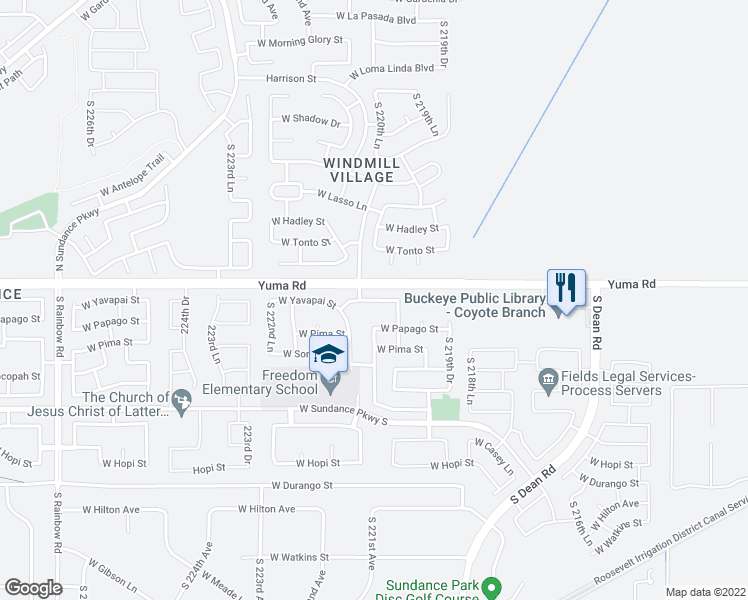map of restaurants, bars, coffee shops, grocery stores, and more near 22081-22089 West Yavapai Street in Buckeye