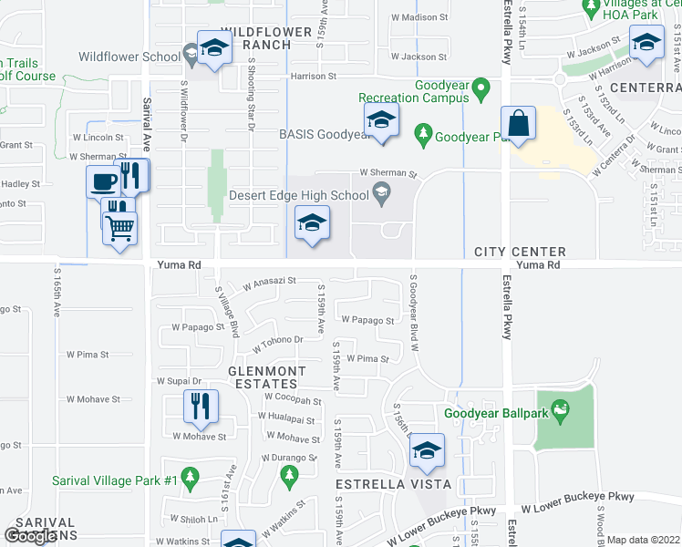 map of restaurants, bars, coffee shops, grocery stores, and more near 15872 West Anasazi Street in Goodyear