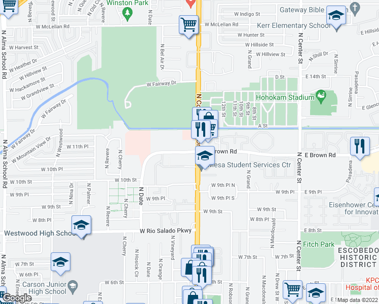 map of restaurants, bars, coffee shops, grocery stores, and more near 424 West Brown Road in Mesa