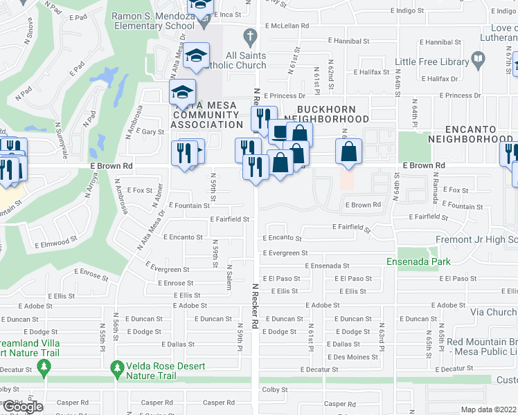 map of restaurants, bars, coffee shops, grocery stores, and more near 1055 North Recker Road in Mesa