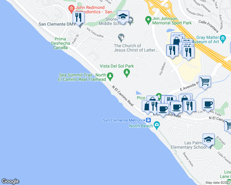 map of restaurants, bars, coffee shops, grocery stores, and more near 1880 North El Camino Real in San Clemente