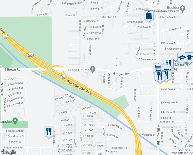map of restaurants, bars, coffee shops, grocery stores, and more near 1130 North 87th Place in Mesa