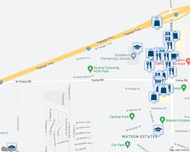 map of restaurants, bars, coffee shops, grocery stores, and more near 24131 West Desert Bloom Street in Buckeye