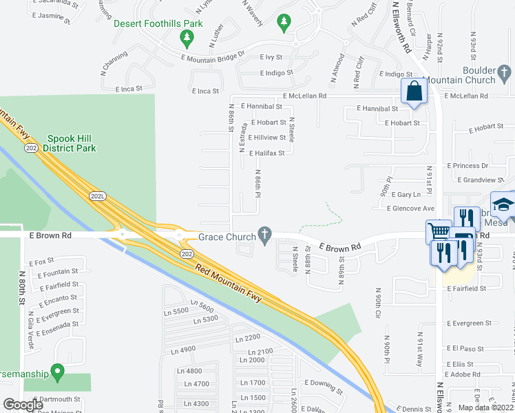 map of restaurants, bars, coffee shops, grocery stores, and more near 1246 North 86th Place in Mesa