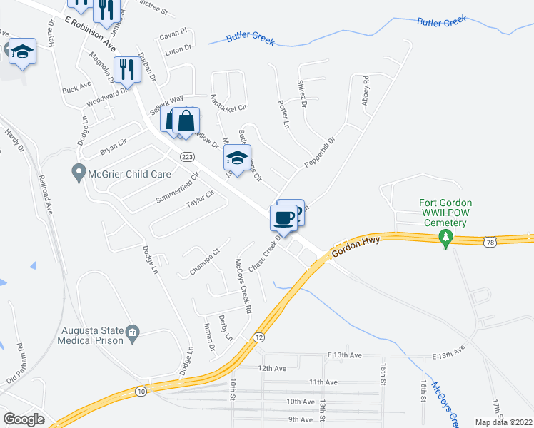 map of restaurants, bars, coffee shops, grocery stores, and more near East Robinson Avenue in Grovetown