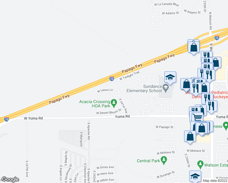 map of restaurants, bars, coffee shops, grocery stores, and more near 24125 West Lasso Lane in Buckeye