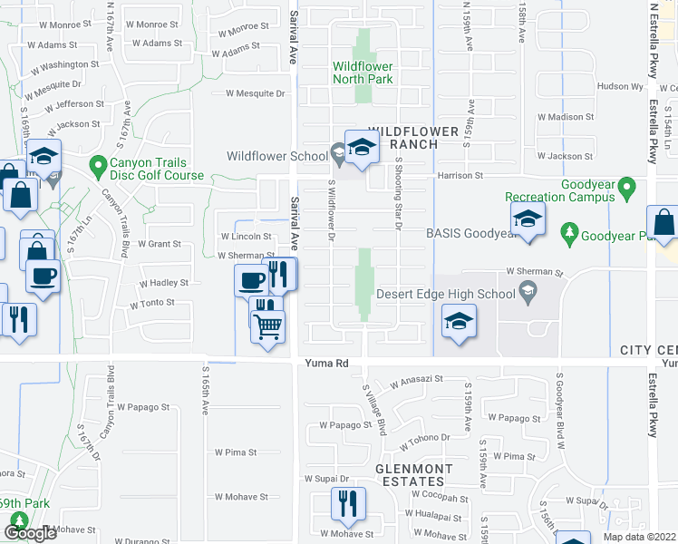 map of restaurants, bars, coffee shops, grocery stores, and more near 16189 West Sherman Street in Goodyear