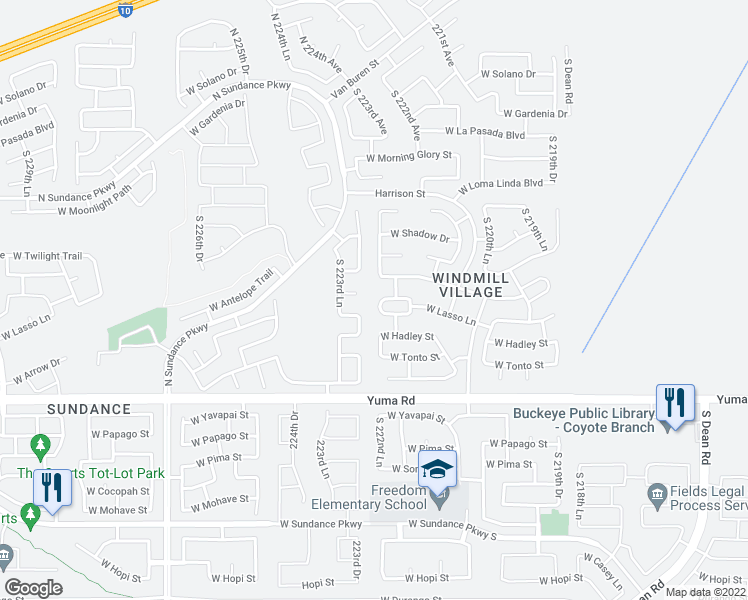 map of restaurants, bars, coffee shops, grocery stores, and more near 22278 West Antelope Trail in Buckeye