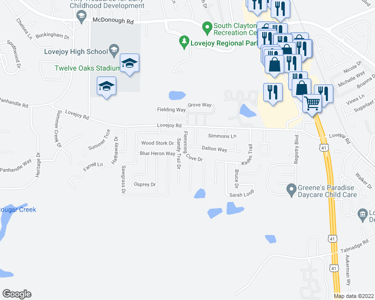map of restaurants, bars, coffee shops, grocery stores, and more near 1801 Dalton Way in Hampton