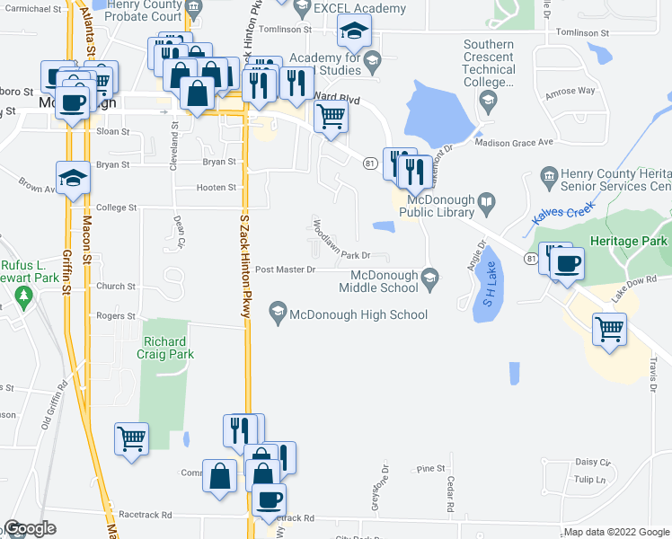 map of restaurants, bars, coffee shops, grocery stores, and more near 100 Postmaster Drive in McDonough