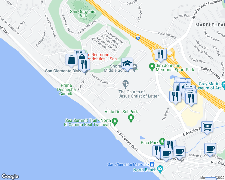 map of restaurants, bars, coffee shops, grocery stores, and more near 437 Camino San Clemente in San Clemente