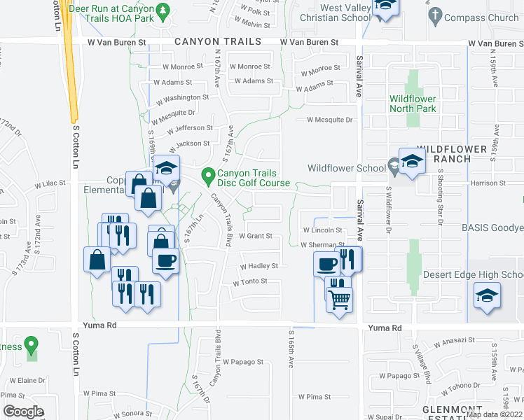 map of restaurants, bars, coffee shops, grocery stores, and more near 16565 West Buchanan Street in Goodyear