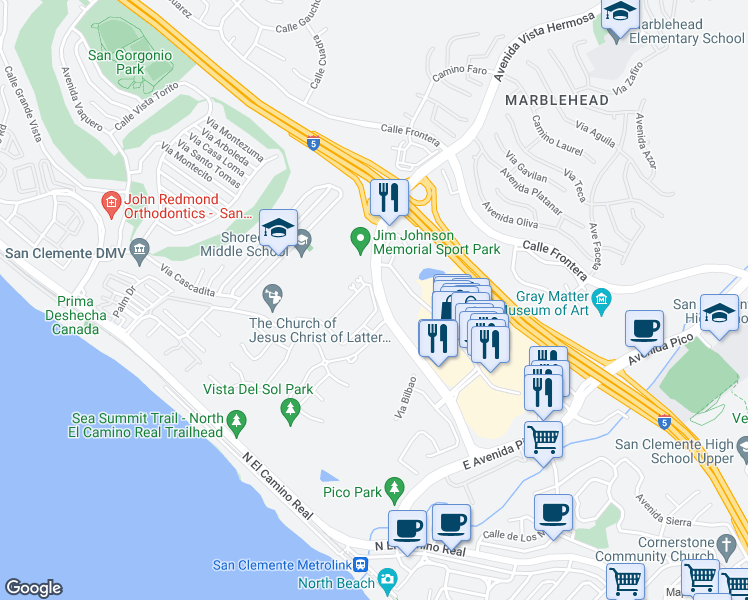 map of restaurants, bars, coffee shops, grocery stores, and more near Avenida Murcia in San Clemente