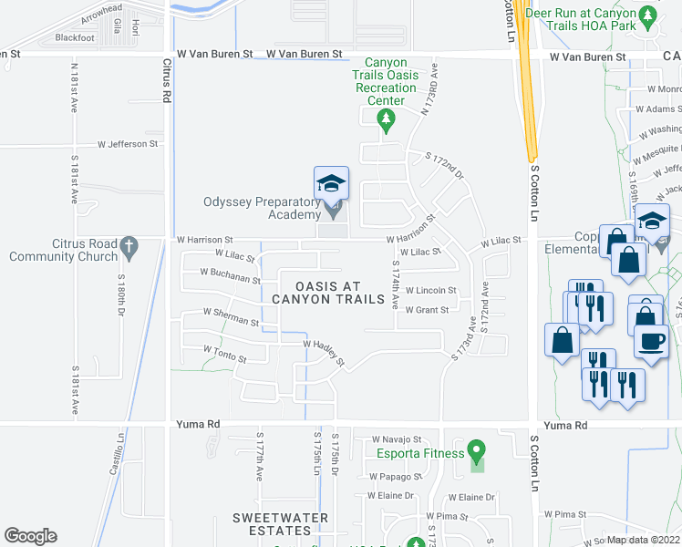 map of restaurants, bars, coffee shops, grocery stores, and more near 17515 West Buchanan Street in Goodyear