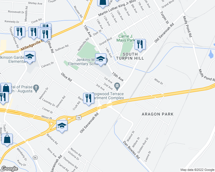 map of restaurants, bars, coffee shops, grocery stores, and more near 2073 1st Avenue in Augusta