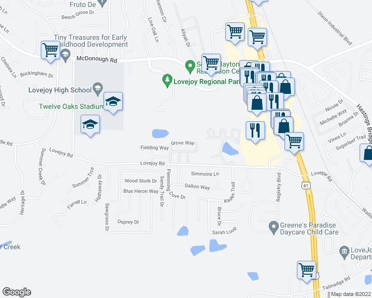 map of restaurants, bars, coffee shops, grocery stores, and more near 2055 Grove Way in Hampton