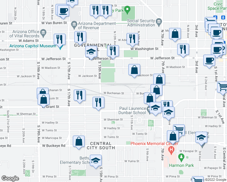map of restaurants, bars, coffee shops, grocery stores, and more near 1302 West Buchanan Street in Phoenix