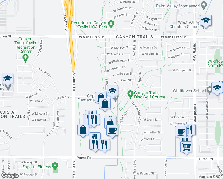 map of restaurants, bars, coffee shops, grocery stores, and more near 16913 West Harrison Street in Goodyear