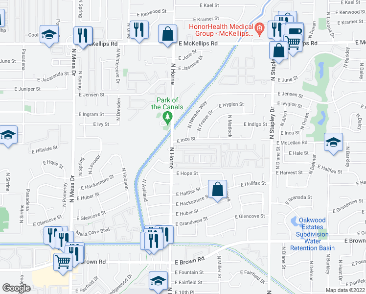 map of restaurants, bars, coffee shops, grocery stores, and more near 1535 North Horne in Mesa