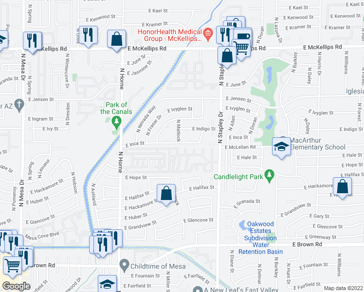 map of restaurants, bars, coffee shops, grocery stores, and more near 3 Fountains of Mesa in Mesa