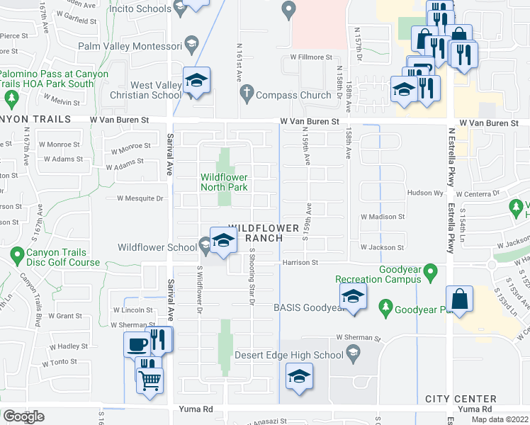 map of restaurants, bars, coffee shops, grocery stores, and more near 16045 West Jefferson Street in Goodyear