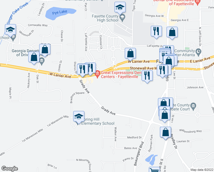 map of restaurants, bars, coffee shops, grocery stores, and more near 500 Floy Farr Parkway in Fayetteville