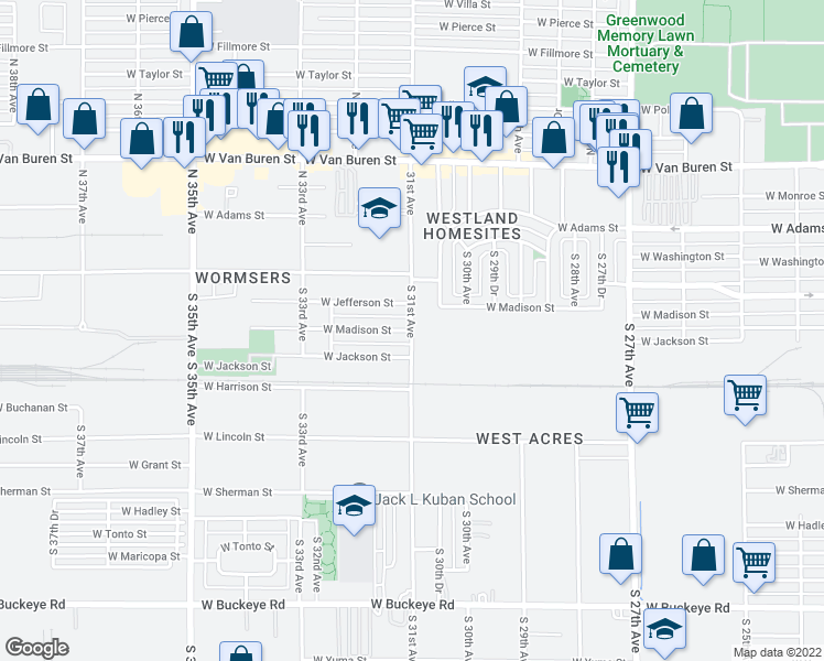 map of restaurants, bars, coffee shops, grocery stores, and more near 3111 West Madison Street in Phoenix