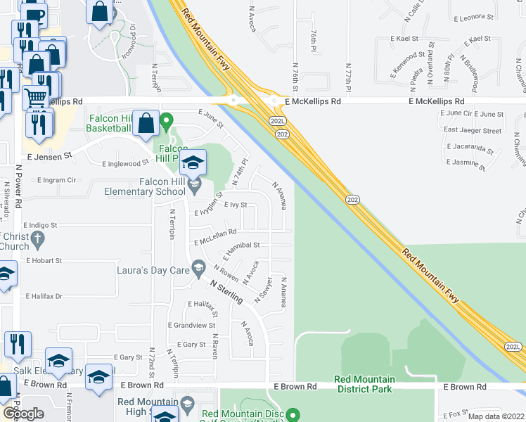 map of restaurants, bars, coffee shops, grocery stores, and more near 1640 North Sawyer in Mesa