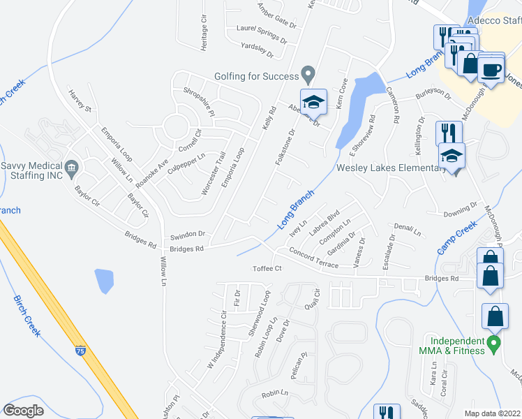 map of restaurants, bars, coffee shops, grocery stores, and more near 1106 Folkstone Drive in McDonough