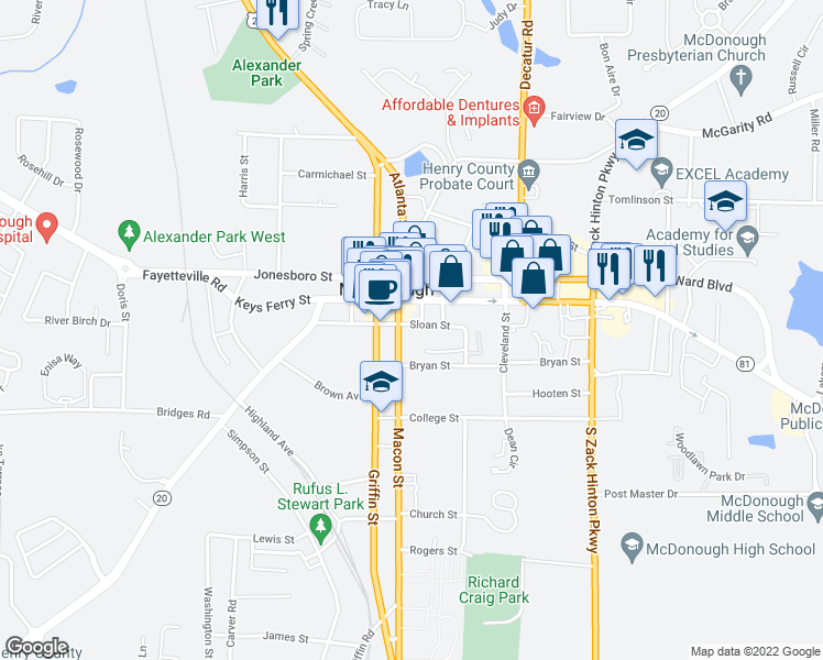 map of restaurants, bars, coffee shops, grocery stores, and more near 62 Macon Street in McDonough