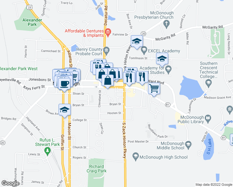 map of restaurants, bars, coffee shops, grocery stores, and more near 1200 Keys Ferry Court in McDonough